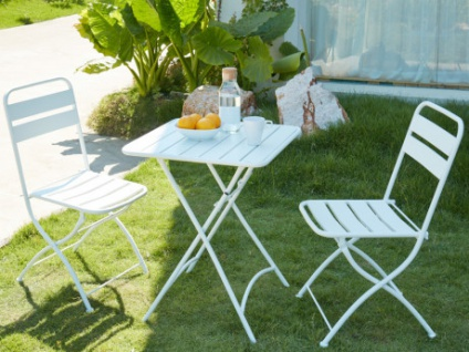 Garten Essgruppe Metall MIRMANDE - 1 Tisch & 2 Stühle - Weiß