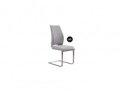 Stuhl 6er-Set SALMA - Kunstleder - Grau