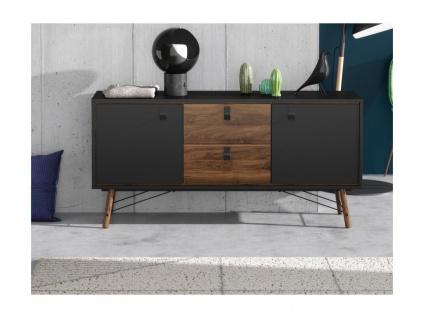 Sideboard FURESO - 2 Türen & 2 Schubladen - Nussbaumfarben & Anthrazit