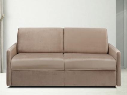 Schlafsofa 3-Sitzer Samt CALIFE - Beige - Liegefläche: 140 cm - Matratzenhöhe: 14cm