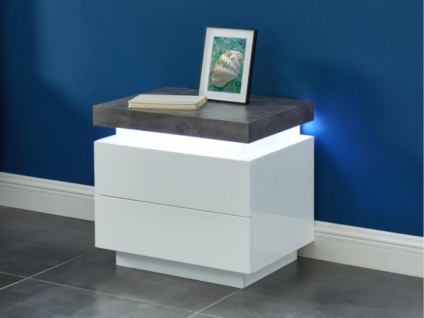 Nachttisch mit LED-Beleuchtung HALO II - 2 Schubladen - Weiß & Beton-Optik