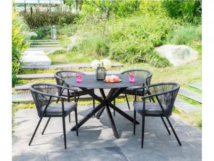 Garten-Essgruppe PORTOFINO - Aluminium: Esstisch D. 120 cm + 4 Stühle
