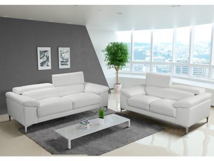 Couchgarnitur Leder 3+2 SOLANGE - Weiß