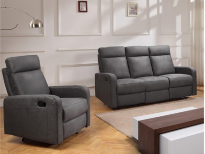 Couchgarnitur Relax Stoff 3+1 CARLINA - Anthrazit