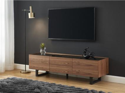 TV-Möbel AZIMA - 2 Türen & 2 Schubladen - Holz, Keramik & Metall - Nussbaumfarben