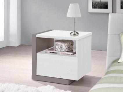 Nachttisch Napoli - 1 Schublade - Weiß/Grau