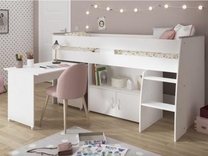 PARISOT Hochbett mit Schreibtisch & Stauraum MARCELLE - 90x200cm