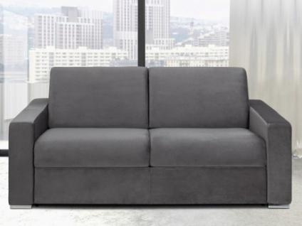 Schlafsofa 3-Sitzer Samt CALITO - Anthrazit - Liegefläche: 140 cm - Matratzenhöhe: 14cm