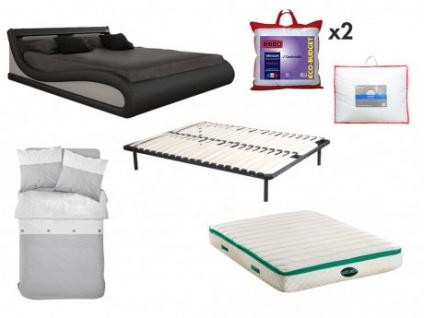 Sparset Schlafzimmer ZALARIS - Bett 160x200 cm (7-tlg.) - Schwarz