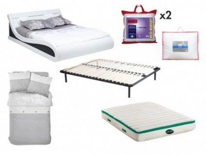 Sparset Schlafzimmer ZALARIS - Bett 160x200 cm (7-tlg.) - Weiß