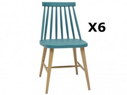 Stuhl 6er-Set Polypropylen DAGMAR - Blau
