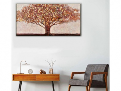 Ölgemälde handgemalt Landhausstil AUTUMN - 70 x 140 cm - Orange