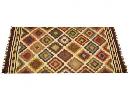 Kelim-Teppich handgewebt CARNAVAL - Wolle & Jute - 200x290cm