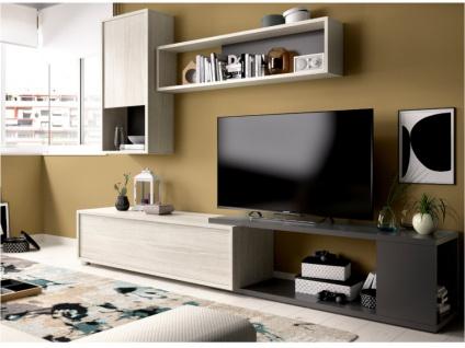 TV-Wand TV-Möbel mit Stauraum GAMBIE - Modulierbar - Anthrazit/Eichenholzfarben - Vorschau 3