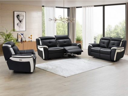 Relaxsofagarnitur Leder elektrisch 3+2+1 ANGELIQUE - Schwarz & Weiß