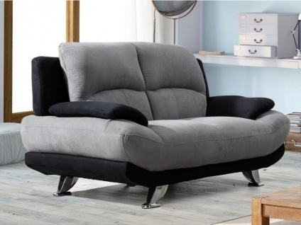 Sofa 2-Sitzer Microfaser MUSKO - Grau-Schwarz