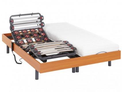 Relax-Kombination Latten und Tellermodule - Latex PANDORA II von DREAMEA - OKIN-Motoren - Kirschbaumholz - 2x70x190cm