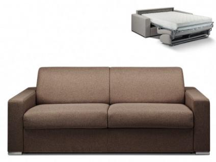 Schlafsofa 4-Sitzer Stoff CALITO - Braun - Liegefläche: 160 cm - Matratzenhöhe: 22cm