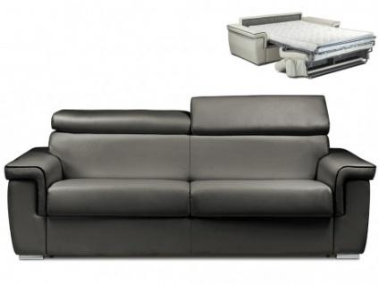 Schlafsofa 4-Sitzer ALTESSE - Anthrazit mit Ziernaht Schwarz - Liegefläche: 160cm - Matratzenhöhe: 14cm