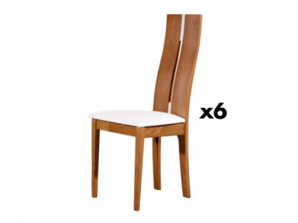 Stuhl 6er-Set Massivholz Salena - Holzfarben