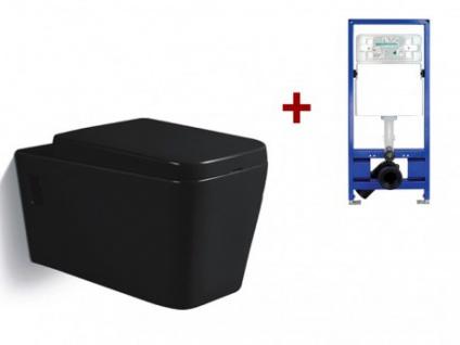 Wand WC Keramik Maiko - Schwarz + Wand WC Element Tobi