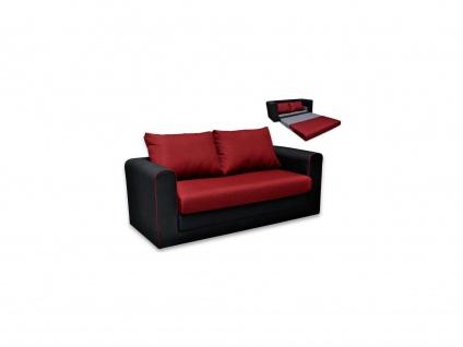 Schlafsofa 2-Sitzer DONAU - Stoff - Rot & Schwarz