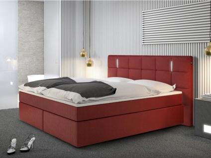 LED-Boxspringbett BILBAO - 160x200cm - Rot