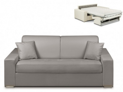 Schlafsofa 3-Sitzer EMIR - Grau - Liegefläche: 140cm - Matratzenhöhe: 14cm