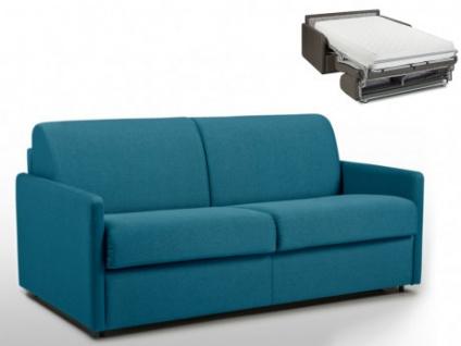 Schlafsofa 3-Sitzer Stoff CALIFE - Türkis - Liegefläche: 140 cm - Matratzenhöhe: 22cm