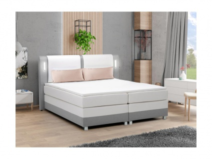 Boxspringbett mit LED-Beleuchtung RIMINI von DREAMEA - 160 x 200 cm - Stoff & Kunstleder - Grau & Weiß