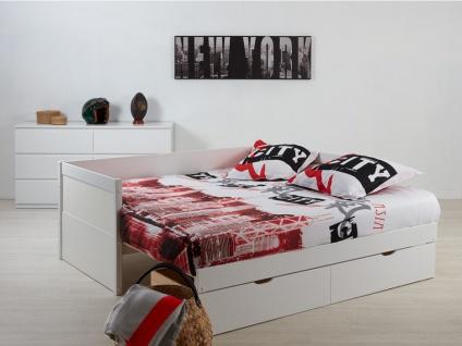 Ausziehbett mit Bettkasten ALFIERO + Lattenrost - 90x190cm - Vorschau 3