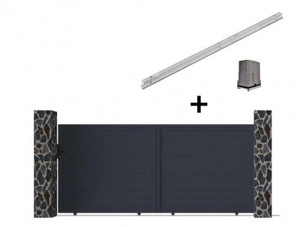 Gartentor Schiebetor NAZARIO - Aluminium - mit Torantrieb - B392 x H173 cm