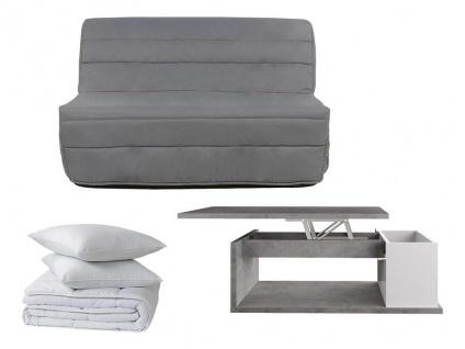Sparset COWBOY: Schlafsofa - Grau + Couchtisch + Bettdecke + 2 Kopfkissen