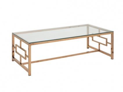 Couchtisch CLOTILDE - Glas & Stahl - Kupferfarben - Vorschau 5