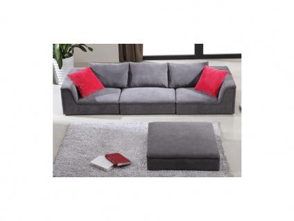 Ecksofa Stoff Houston - Niedrige Sitzhöhe: 24 cm - Grau - Vorschau 4