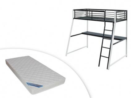 Set Hochbett mit Schreibtisch + Matratze MALICIA - 90x190cm