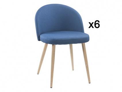 Stuhl 6er-Set Stoff LILLY - Grau - Vorschau 2