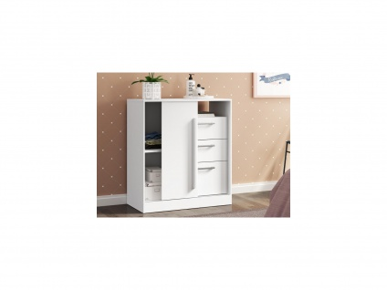 Kommode DEVY - 1 Ablage, 1 Tür & 3 Schubladen - Weiß - Vorschau 2