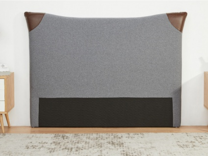 Kopfteil Bett ALESSIO - Stoff & Kunstleder - 140 cm - Grau