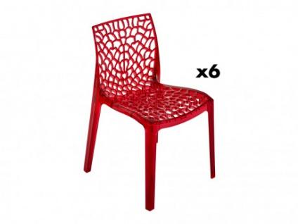 Stuhl 6er-Set Diadem - Polycarbonat - Rot