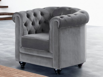 Chesterfield Sessel Samt ANNA - Grau