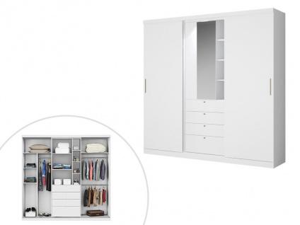 Kleiderschrank BODIL - Schiebetüren - Spiegel & Schubladen - B: 240cm - Weiß