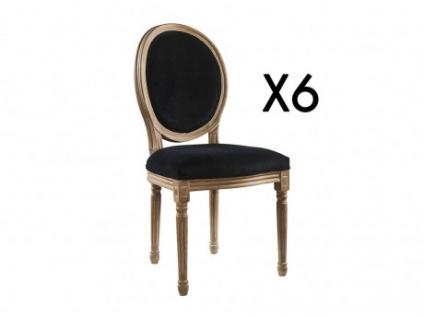 Stuhl 6er-Set Samt LOUIS XVI - Schwarz