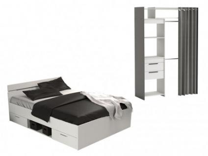 Sparset Schlafzimmer Extra Stauraum: Bett + Kleiderschrank
