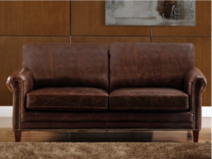 Ledersofa Vintage 2-Sitzer CASSANDRA - Braun - Vorschau 2