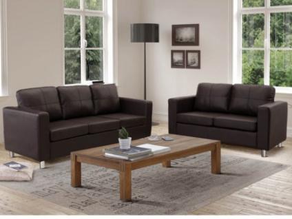 Couchgarnitur 3+2 Ackley - Braun