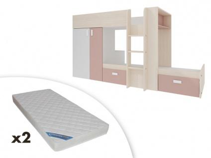 Set Etagenbett mit Kleiderschrank JULIEN + 2 Matratzen - 2x90x190cm - Weiß & Rosa