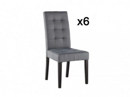 Stuhl 6er-Set Stoff Holz VILLOSA - Grau