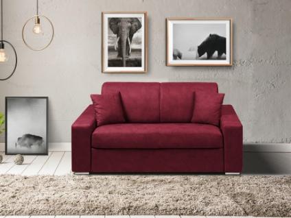 Schlafsofa 2-Sitzer Stoff EMIR - Bordeauxrot - Liegefläche: 120cm - Matratzenhöhe: 22cm