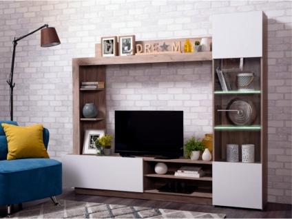 TV-Möbel TV-Wand mit Stauraum & LED-Beleuchtung ARKALA